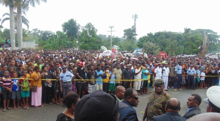 Large Crowd at the Port Vila Airport to say Goodbye to the body of the Late Lonsdale