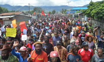 Independence protesters march in Wamena, West Papua, on Monday. Image: Free West Papua/TeleSur