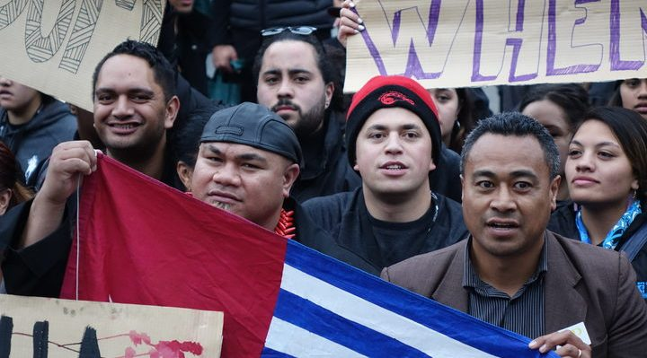 David Tua (left) and Labour's Pacific Vice-President Jerome Mika (right) march on parliament for West Papua freedom. Photo: RNZI/Johnny Blades