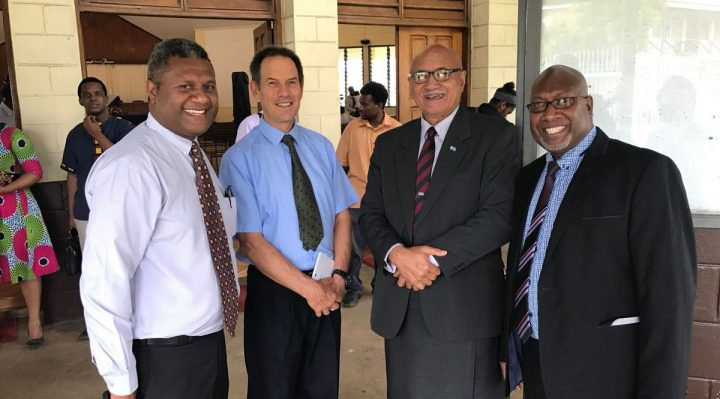 Left to right: Assistant Head Elder Branan Karae, Pastor Bob Larsen, Fiji President Jioji Konusi Konrote and Head Elder Rexley shem pose outside Potoroki Church, By Len Garae