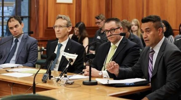 New Zealand Ministry of Foreign Affairs and Trade officials at a parliamentary select committee briefing on West Papua, 7 December 2017 : Michael Appleton, Unit Manager, Pacific Regional Division; Stephen Harris, Divisional Manager, South East Asia Division; Ben King, Acting Chief Executive/Deputy Secretary Americas and Asia Group; Phillip Taula, Divisional Manager, United Nations, Human Rights and Commonwealth Division. Photo: VNP / Phil Smith