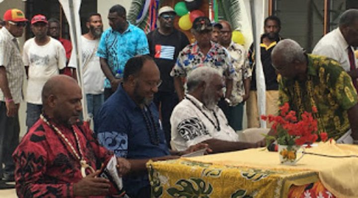 (from left:) United Liberation Movement for West Papua chairman Benny Wenda, Vanuatu prime minister Charlot Salwai and deputy prime minister Joe Natuman, as well as ULMWP deputy chairman Octo Mote at the Movement's summit in Port Vila, 1 December 2017. Photo: Australia West Papua Association