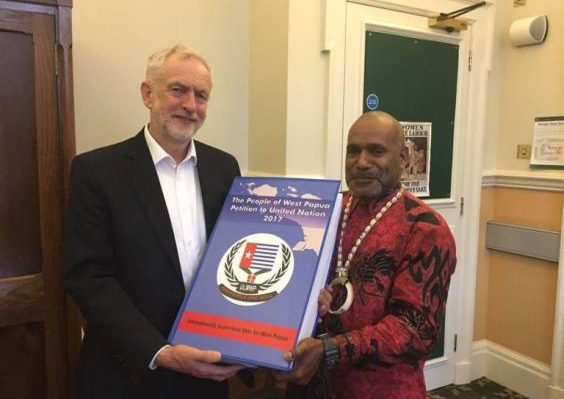 Labour leader Jeremy Corbyn is presented with the petition signed by 1.8 million West Papuans by Free West Papua leader Benny Wenda