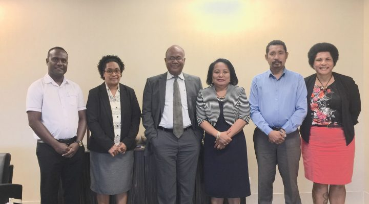 Acting Secretary, Ms. Agelavu (4th from right) and DG Amena Yauvoli (3rd from right) with delegation from the MSG Secretariat & officials from the PNG Department of Foreign Affairs