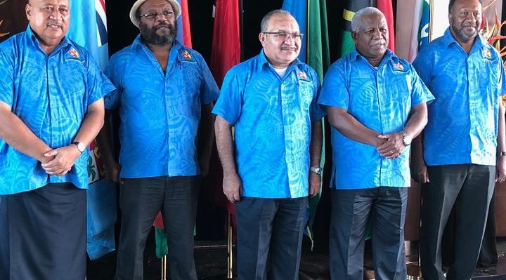 Melanesian Spearhead Group leaders at their 2018 summit: (left to right:) Fiji's Defence Minister Ratu Inoke Kubuabola, Victor Tutugoro of New Caledonia's FLNKS Kanaks Movement, PNG prime minister Peter O'Neill, prime minister of Solomon Islands Rick Hou, and Vanuatu's prime minister Charlot Salwai. Photo: Twitter / Ratu Inoke Kubuabola