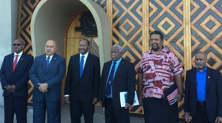Leading delegates at the 2018 Melanesian Spearhead Group summit in Port Moresby, including Charlot Salwai and Rick Hou, prime ministers of Vanuatu and Solomon Islands (third and fourth from the left) and West Papuan leader Benny Wenda far right). Photo: Supplied