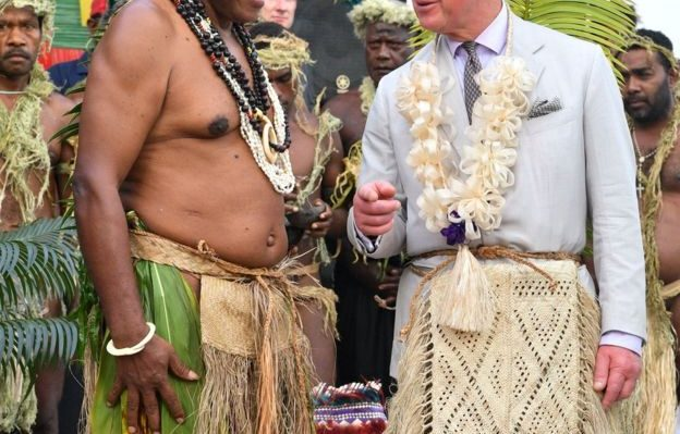 The prince received a welcome fit for a king when he visited the South Pacific arhipelago