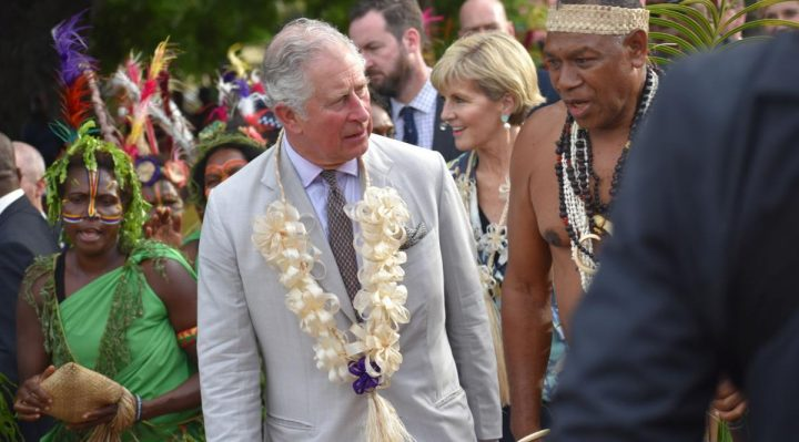 Prince Charles and Chair of Malvatumauri Council of Chiefs Port Vila, Vanuatu