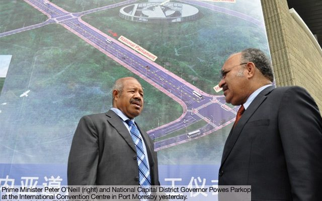 PNG Prime Mniister Peter O'Neill and NCD Governor Powes Parkop