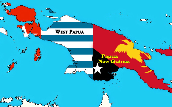 Map of New Guinea, Flags of West Papua and PNG