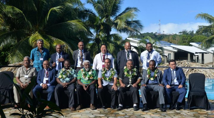 HoMs and Ministers of the government during the photo session at Iririki Island Resort. Fern Napwatt