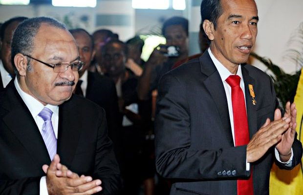 PNG PM Peter O'Neil and Indonesia president Joko Widodo Photo: supplied