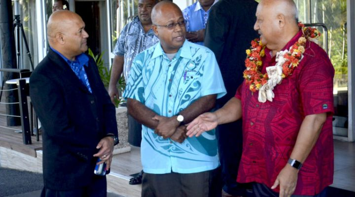 Fiji's permanent secretary for the Ministry of Defence and National Security Osea Cawaru (left) with Director General for MSG Amena Yauvoli and Minister for Defence Ratu Inoke Kubuabola during a break at the 2nd MSG Regional Security Strategy Working Group Meeting at Tanoa International in Nadi yesterday. Picture: BALJEET SINGH