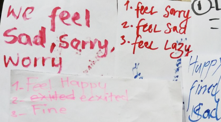 This image from the EMT report shows words written by Ambaean students on Maewo, describing how they feel.