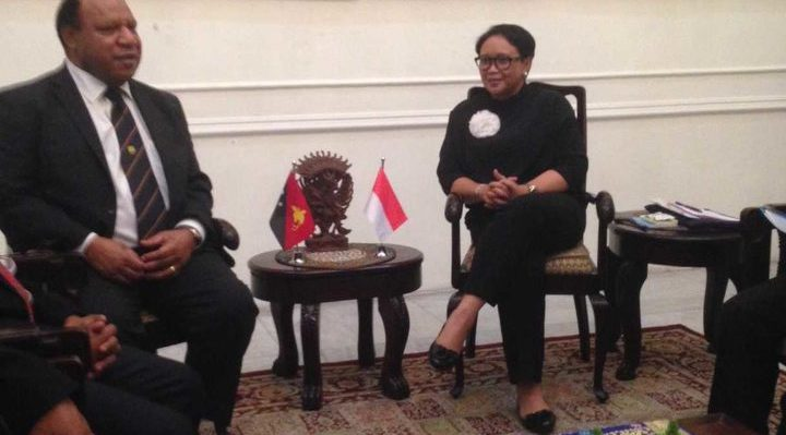 PNG foreign minister Rimbink Pato meets his Indonesian counterpart Retno Marsudi in Indonesia, 19 July 2018 Photo: Rimbink Pato office