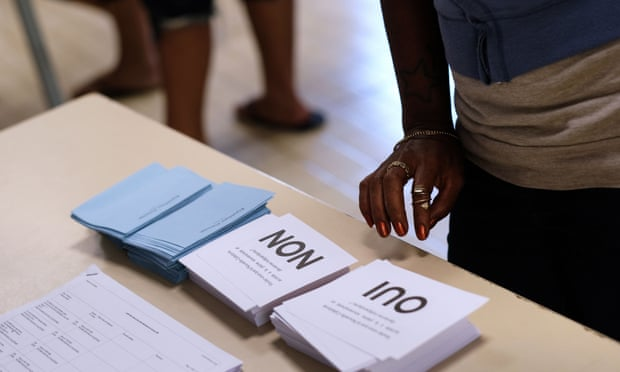 Voters arrive to cast their ballots in the referendum on New Caledonia's independence from France. Photograph: Theo Rouby/AFP/Getty