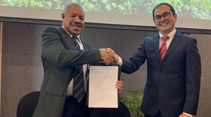 Governor Parkop with International Finance Corporation's Investment Officer Ritesh Vij after the signing of the Affordable Housing Agreement for Port Moresby in Fiji today.