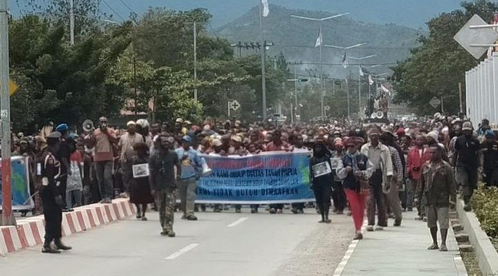 West Papuans protest against racism in Wamena, August 2019. Photo: Supplied