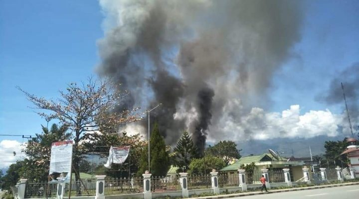 Burning of Government Regent Office in Wamena, West Papua Highlands