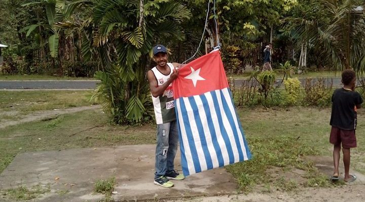 West Papua represented by ULMWP Chairman Benny Wenda; mass solidarity for West Papua - afforded by social media;1st December 2019, Global Flag Raising Day, Vanimo