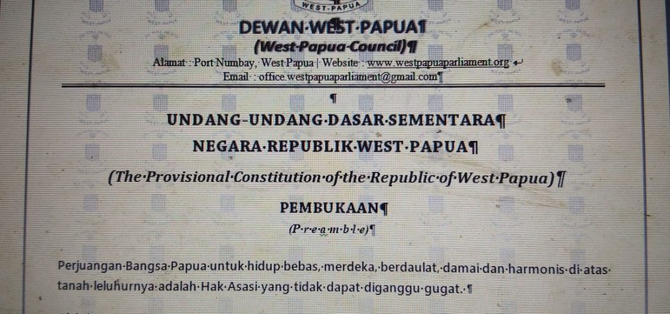 ULMWP Establishes Provisional Constitution for West Papua