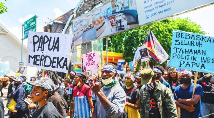 Papuan activists attend a protest in Surabaya, Indonesia, yesterday to mark the Free Papua Organization anniversary. Photo: AFP